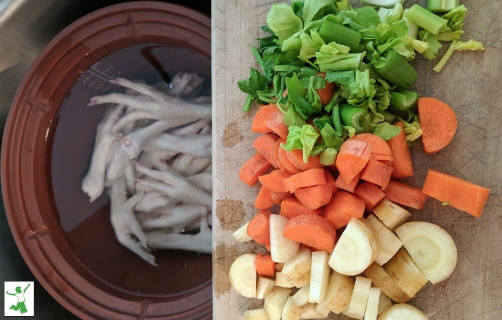chicken feet soup in a pot
