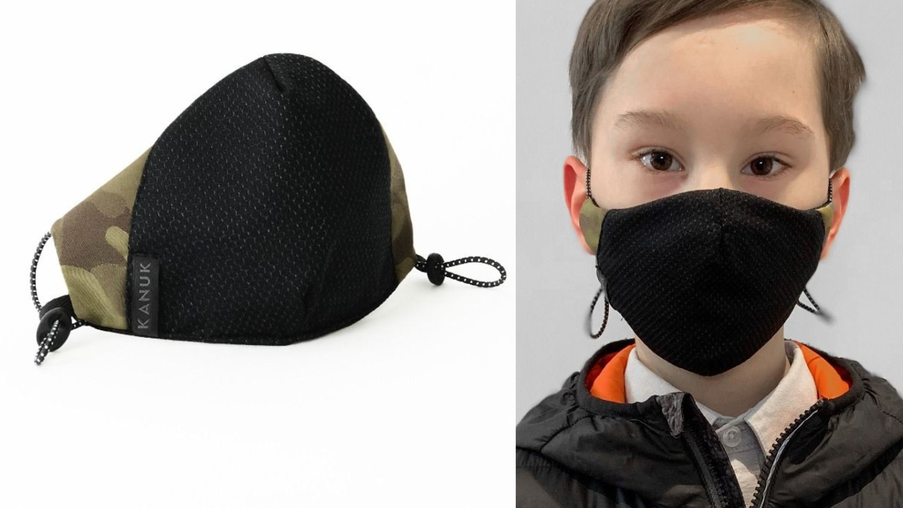young boy wearing face mask