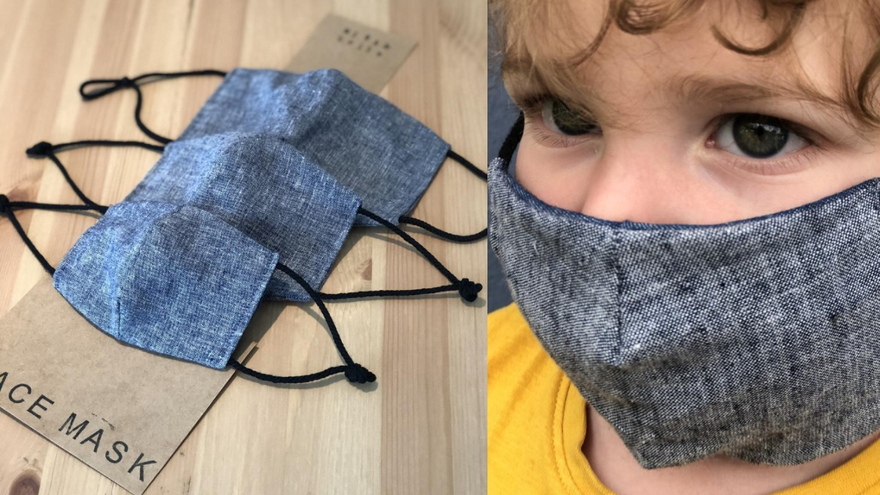cotton and linen toddler face mask