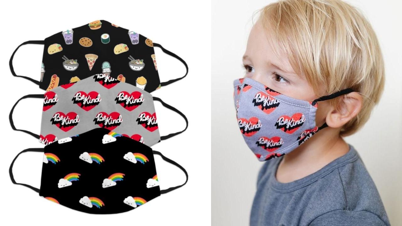 kid wearing printed face mask