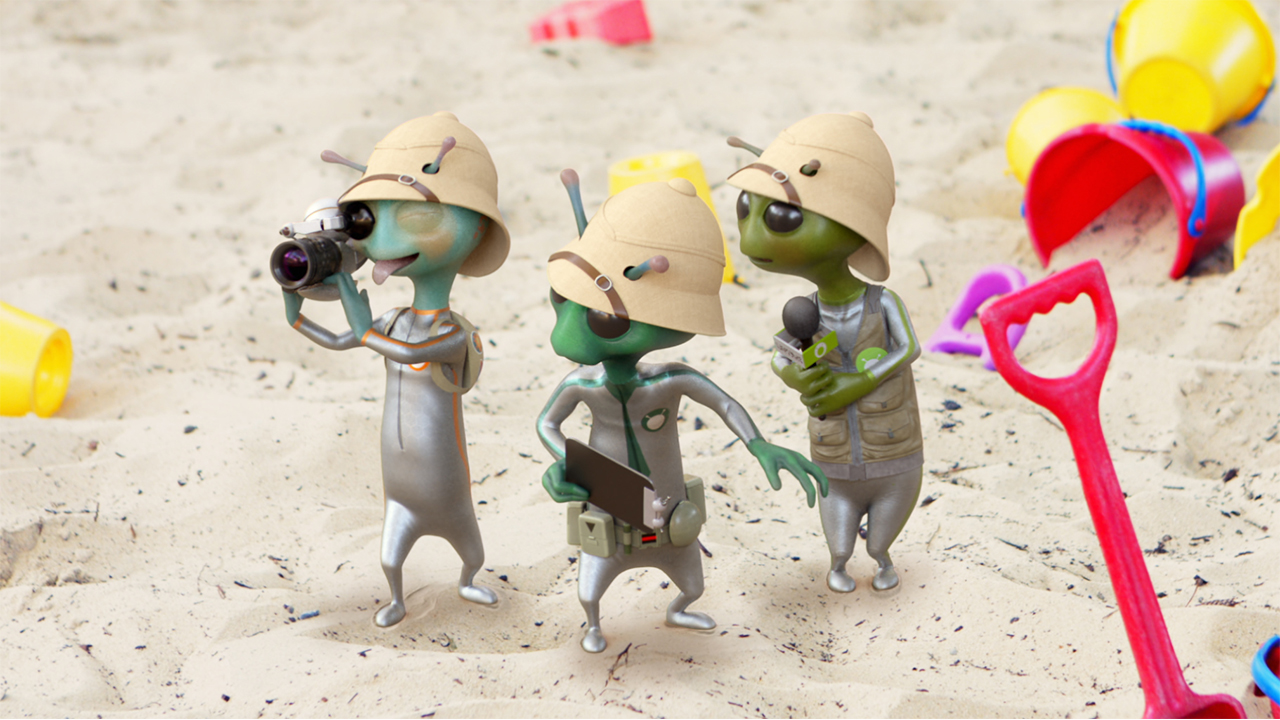 and alien tv crew explores a human sandbox