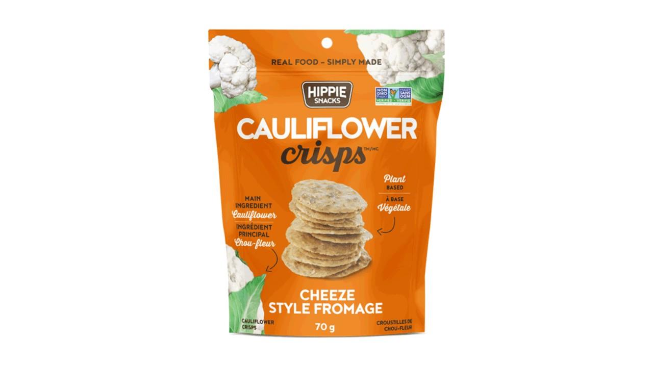 Cauliflower crisps Cheeze in orange package