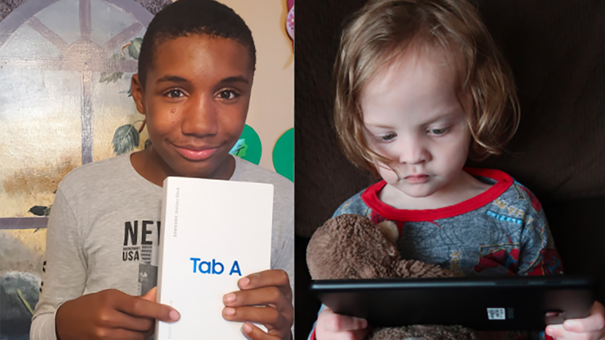 boy and girl with tablet