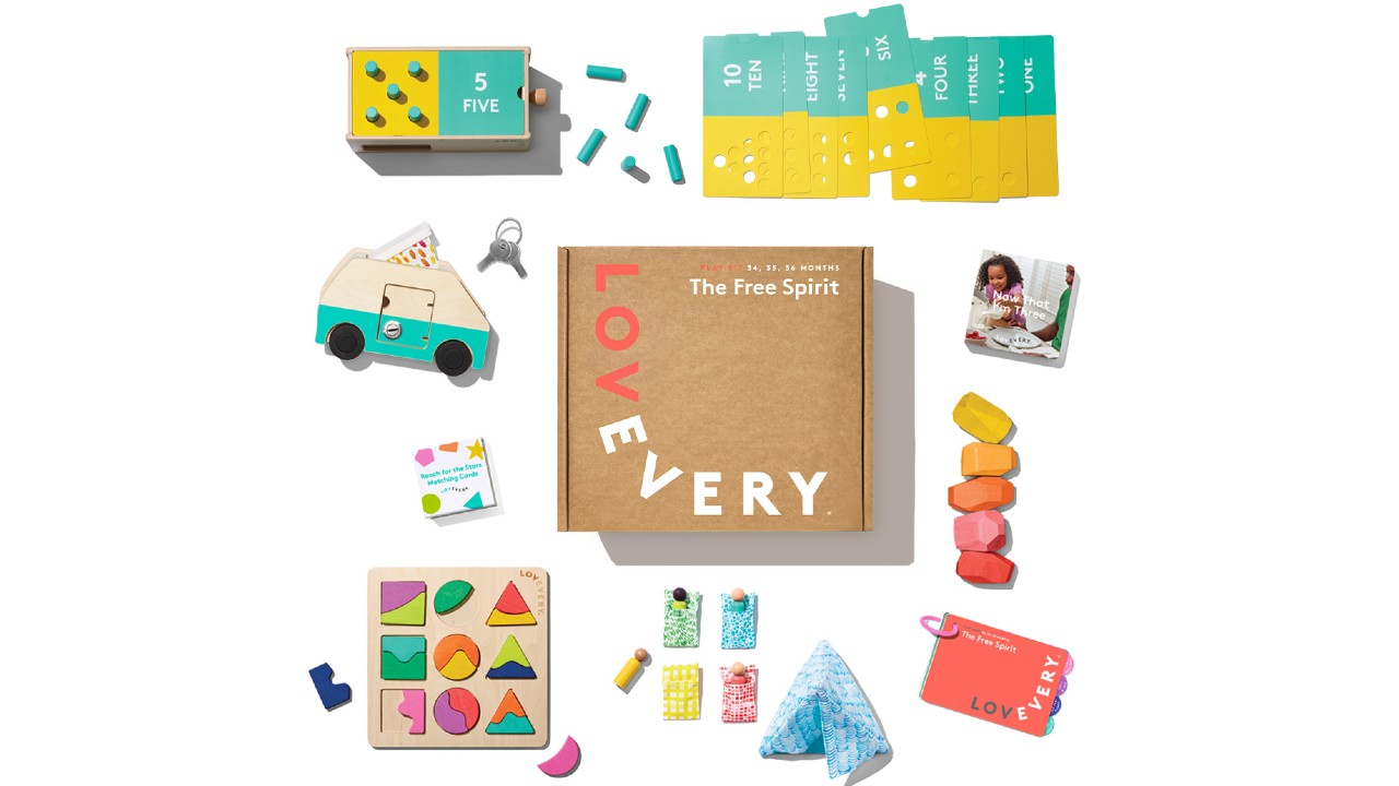 flat lay of items in subscription box for toddlers
