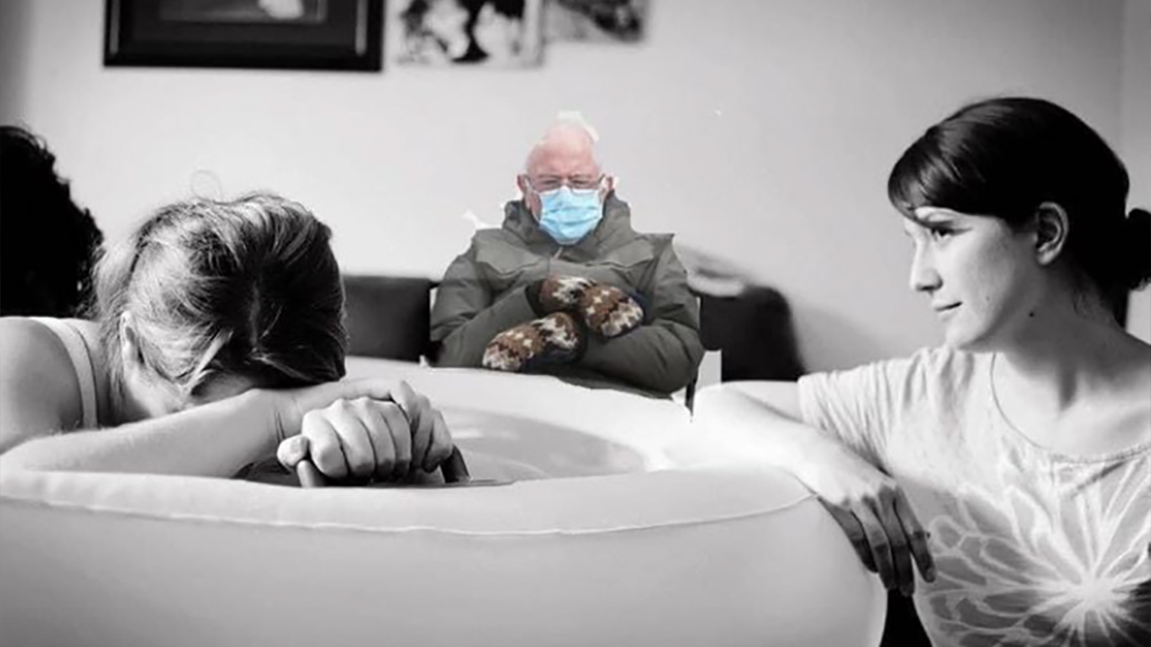 Bernie Sanders photoshopped into a meme where he's sitting on the sidelines during a water birth