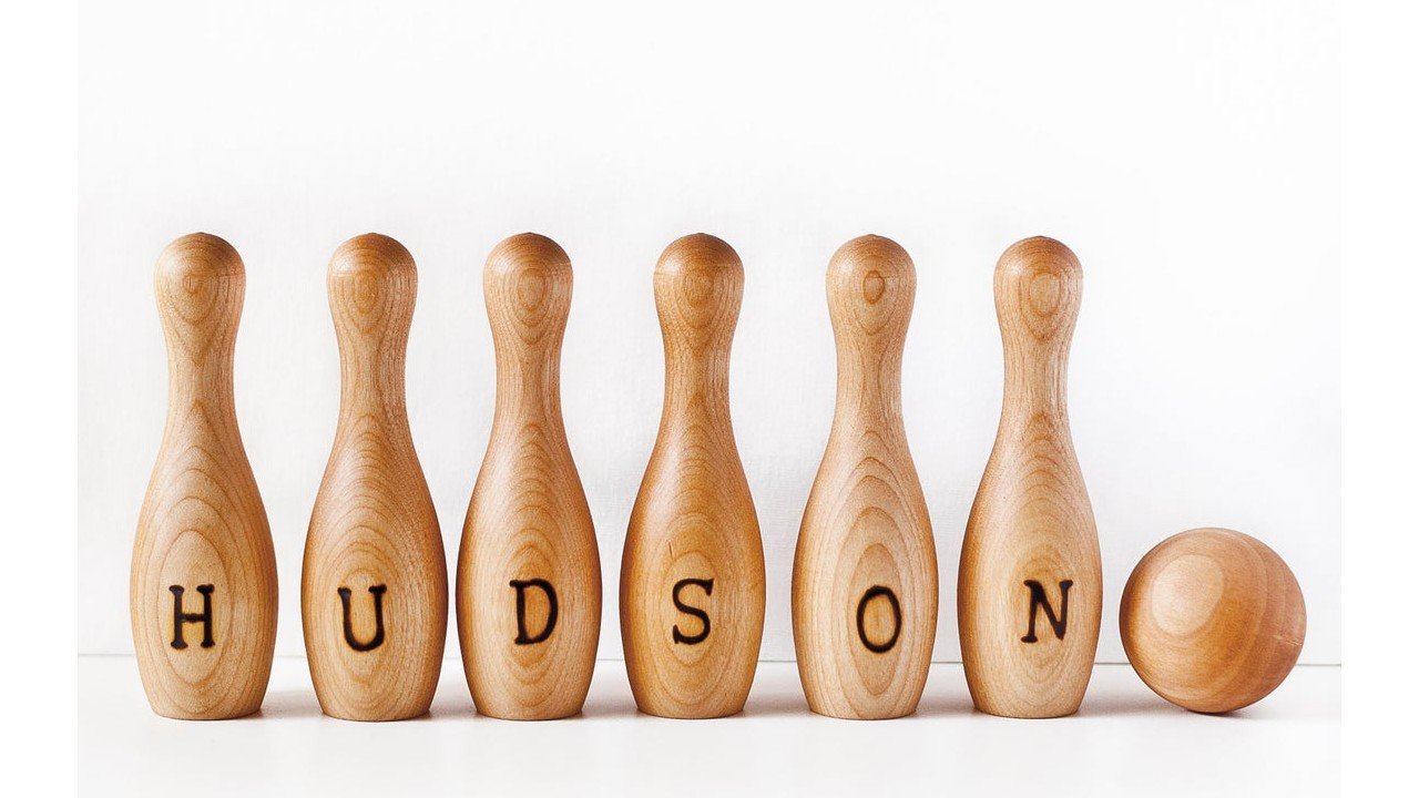 personalized wooden bowling set