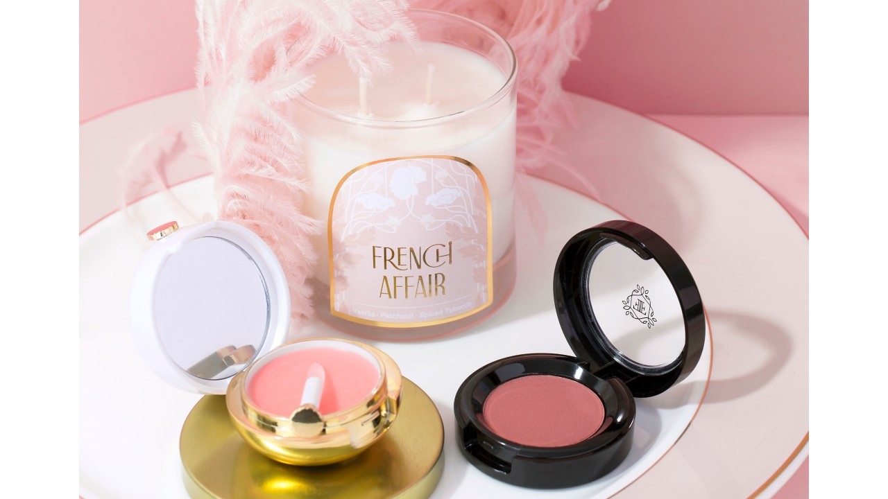 Valentine's Day beauty bundle on pink background
