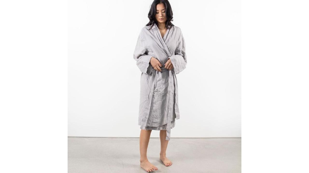 women wearing linen robe