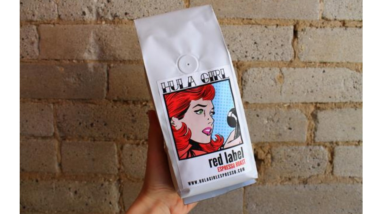 bag of coffee with art on it