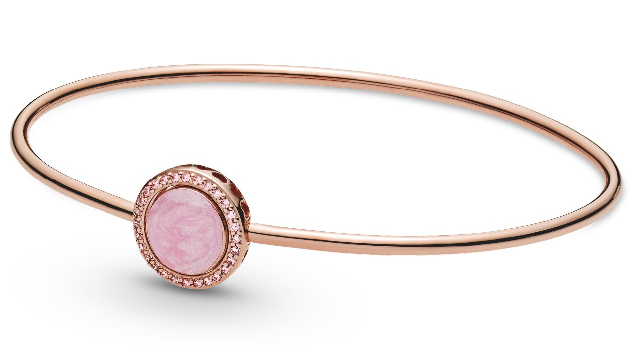 rose gold bangle with pink stone