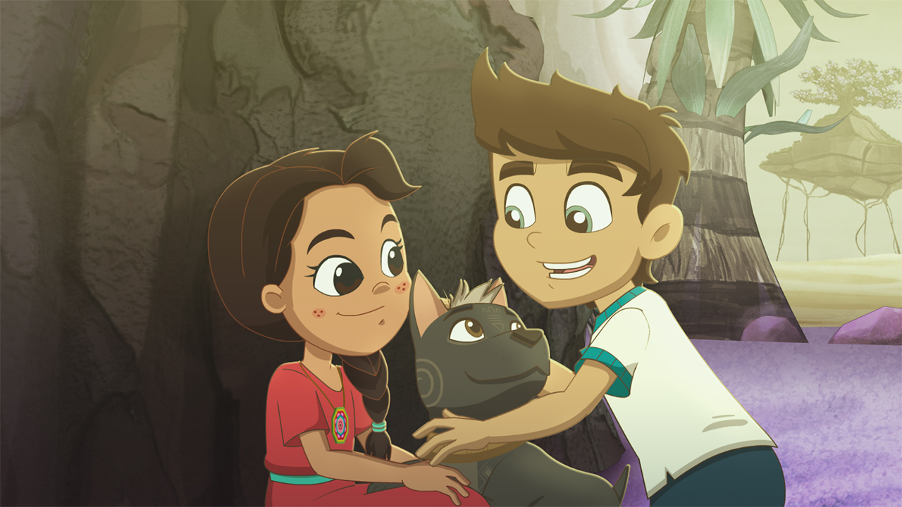 A still from Xico's Journey showing a pair of kids hugging a dog in the forest