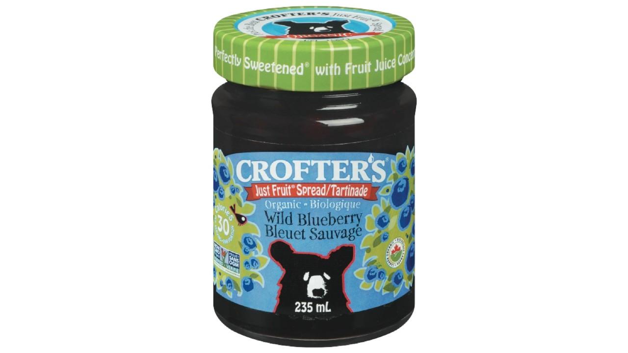 jar of blueberry jam with bear
