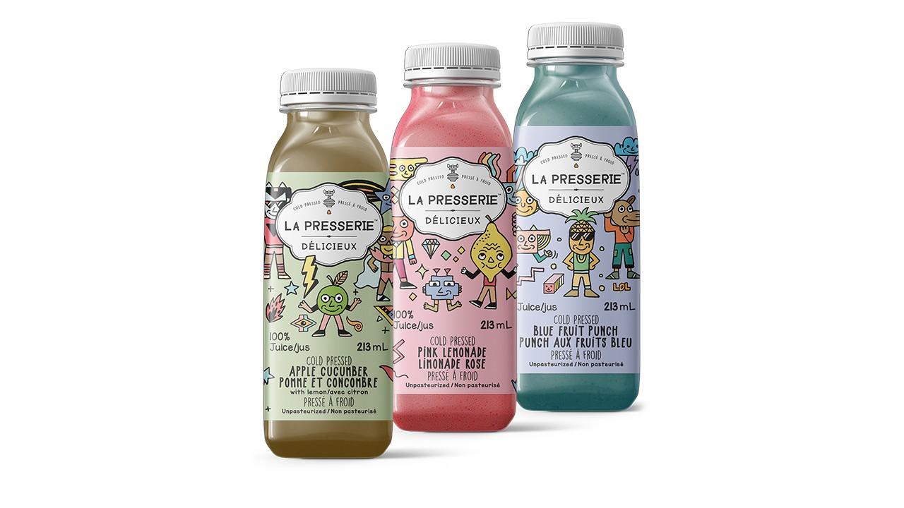three bottles of kids cold-pressed juice