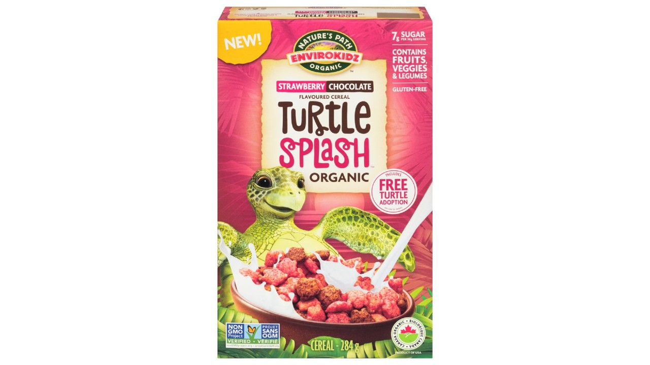 colourful box of cereal featuring a sea turtle